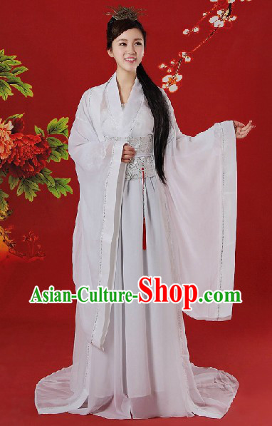 Chinese Classical White Dragon Lady Costumes and Accessories Complete Set