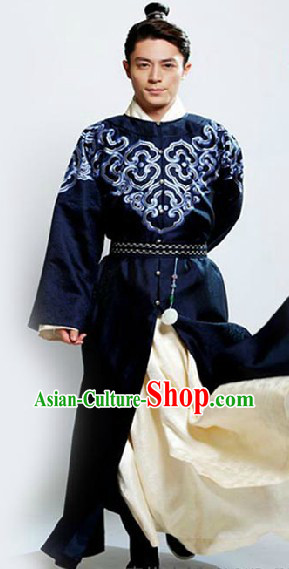 Ming Dynasty Deep Blue Clothing for Men
