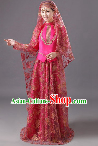 Ancient Chinese Muslim Hui Minority Wedding Dress for Brides