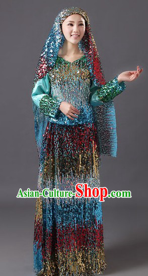 Traditional Chinese Muslin Hui Dance Costumes and Headpiece for Women