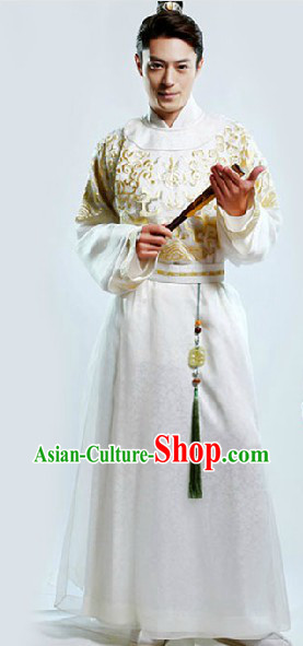 Ancient Chinese White Ming Dynasty Clothing for Boys