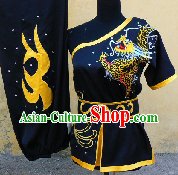 Black Dragon Embroidery One Shoulder Southern Fist Kung Fu Uniform