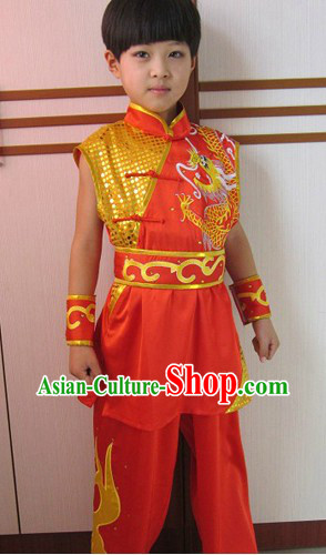 Red Dragon Embroidery Martial Arts Tai Chi Competition and Performance Uniform for Children