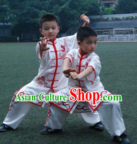 White Dragon Embroidery Martial Arts Tai Chi Competition Uniform for Children