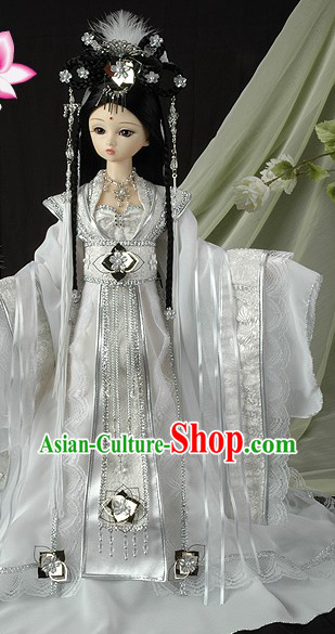 Pure White Dragon Lady Costumes and Feather Hair Accessories for Women