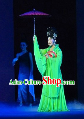 Green China Tang Dynasty Female Clothing and Wig for Women