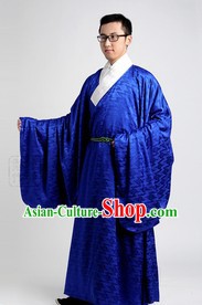 Blue Ancient Chinese Han Fu Robe and Clothing for Men