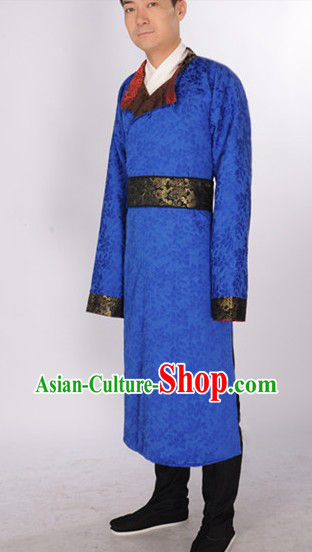 Blue Ancient Chinese Tang Dynasty Clothing Suit for Men