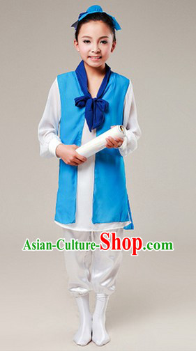 Chinese Classical Dancing Costumes and Head Pieces for Kids