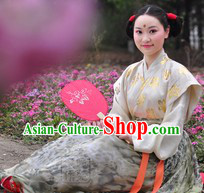Ancient Chinese Tang Dynasty Lady Costume with a Fan