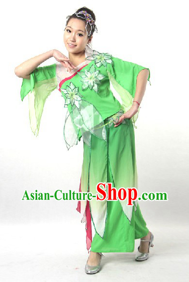 Traditional Chinese Stage Performance Jasmine Flower Mo Li Dance Costume and Head Pieces
