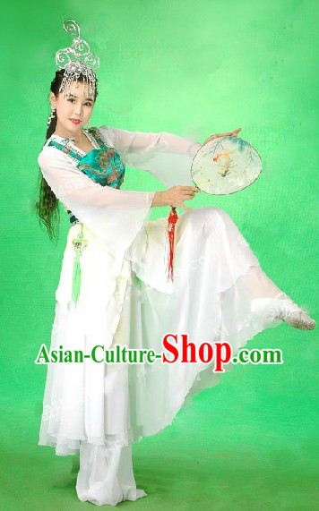 Chinese Classical Stage Performance Jasmine Flower Mo Li Dance Costume and Head Pieces