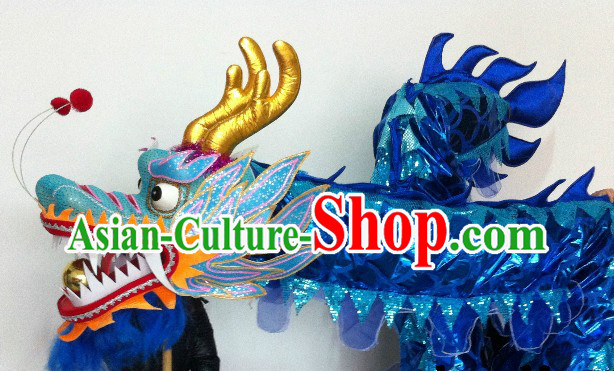 Shinning Blue China Dragon Dancing Costumes for 15-16 People