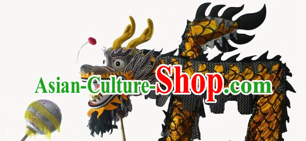 51 Meters Long Shinning Black and Golden China Dragon Dancing Costume Prop for 25-26 Dancers