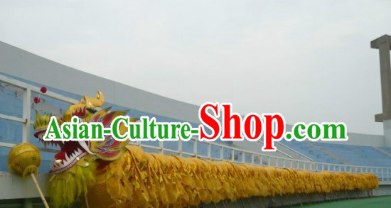 98 Meters Shinning Gold Dragon Dance Costume for 49-50 People