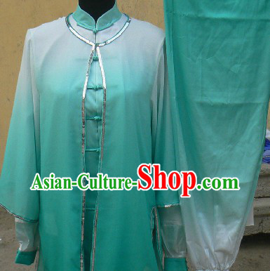Colour Transition Chinese Silk Kung Fu Clothing Complete Set for Women