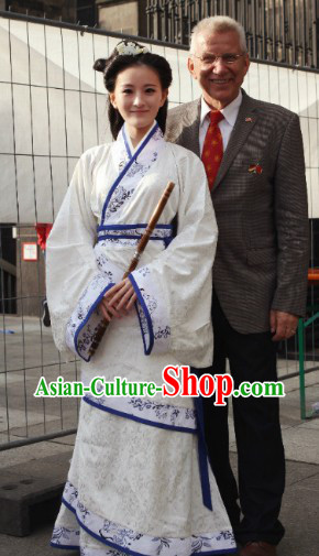 Worldwide Free Shipping Ancient White Imperial Princess Clothing Costume
