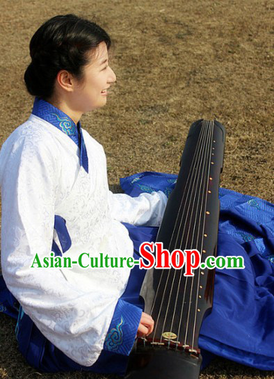 White Embroidery Ancient Ming Dynasty Ancient Koto Apparel for Women