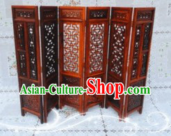 Handmade Traditional Chinese Natural Wood Arts Folding Screen