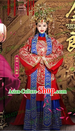 Traditional Chinese Brides Wedding Suit Robe Clothing