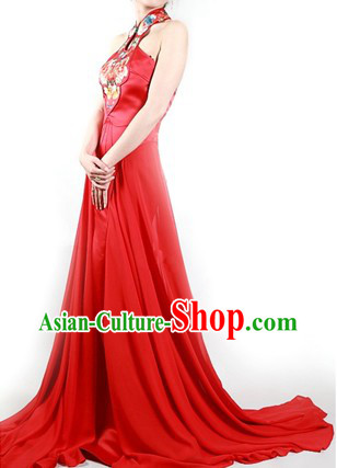 Gorgeous Red Chinese Oriental Elegant Evening Gown