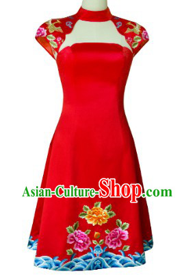 New Design Embroidered Phoenix Flower Evening Dress for Brides