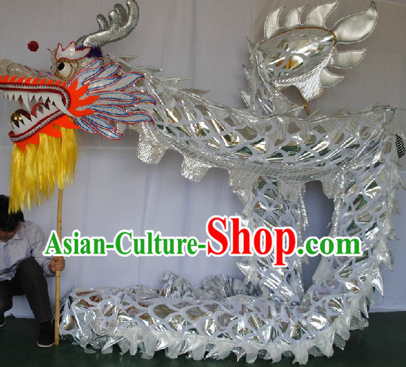 Free Worldwide Delivery 14 Meters Shinning Silver Dragon Dancing Costume Prop for Adults