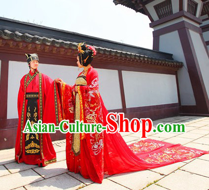 Traditional Ancient Chinese Wedding Dresses Outfits Hats and Accessories for Brides and Bridegrooms
