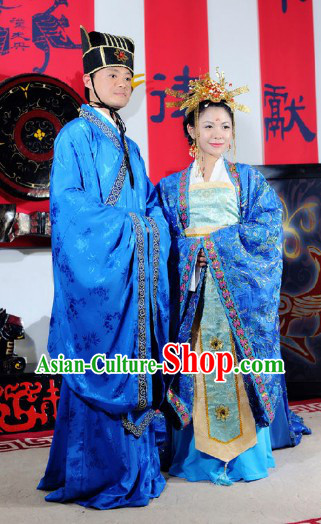 Traditional Ancient Chinese Tang Dynasty Wedding Dresses and Hair Accessories for Couple