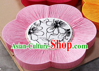 Unique Chinese Pink Mandarin Fabric Style Ocean Flower Lanterns