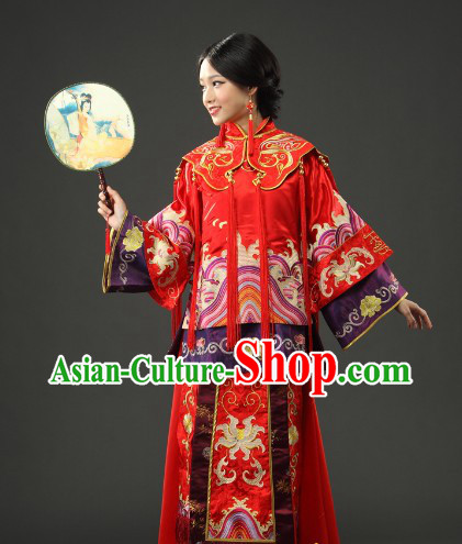 Traditional Chinese Red Xiu He Style Wedding Suit Clothing for Brides