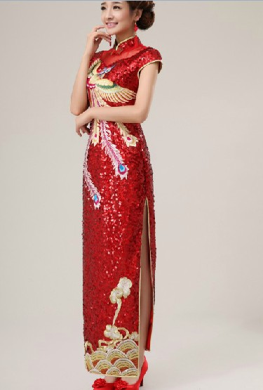 Chinese Classic Embroidered Phoenix Long Cheongsam