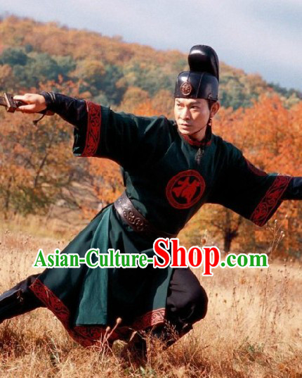 Flying Daggers Shi Mian Mai Fu Ancient Chinese Green Captor Costume and Hat