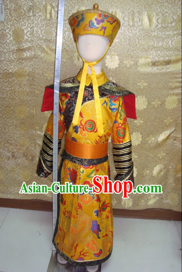China Qing Dynasty Imperial Prince Dragon Robe Costumes and Hat Complete Set for Kids