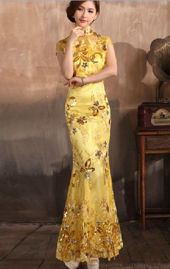 Fish Tail Elegant Floral Long Cheongsam