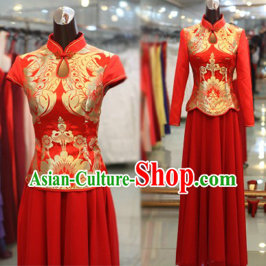 Traditional Chinese Red Wedding Shirt and Skirt Outfits for Brides