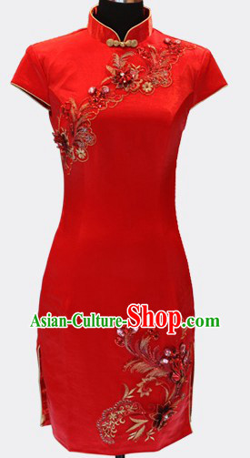 Traditional Chinese Red Short Cheongsam for Women