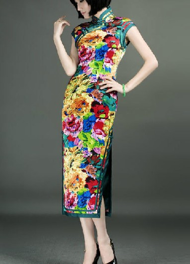 Traditional Chinese Classical Pure Silk Long Cheongsam