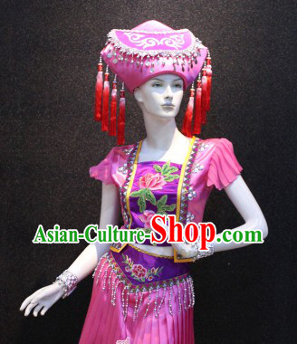 Guang Xi Zhuang Zu Female Clothing and Hat Complete Set for Women