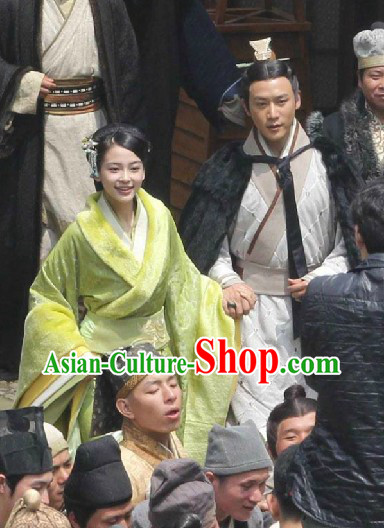 Ancient Chinese Han Dynasty Couple Costumes for Men and Women