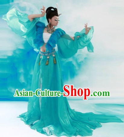 Ancient Chinese Classical Green Peacock Love Costumes for Women