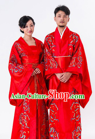 Traditional Chinese Happy Flower Wedding Dresses for Men and Women