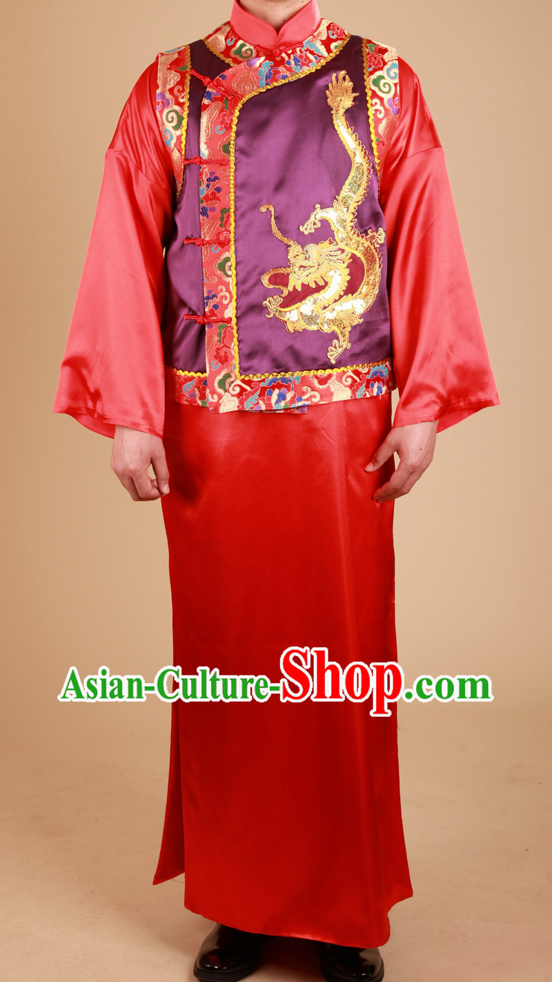 Traditional Chinese Classical Wedding Dragon Blouse Outfit for Bridegroom