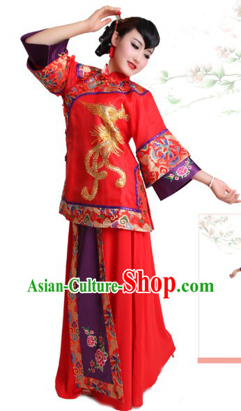Traditional Chinese Classical Wedding Phoenix Outfit for Brides