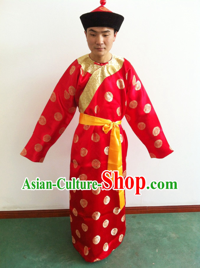 Traditional Chinese Waiter Robe and Hat