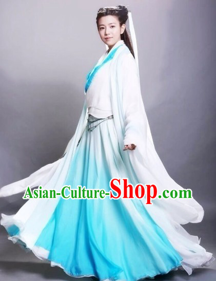 The Return of the Condor Heroes Shen Diao Xia Lv Dragon Lady White and Blue Costumes for Women