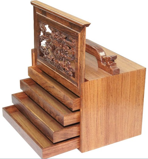 Traditional Carved Chinese Rosewood Five Layers Mahjong Box