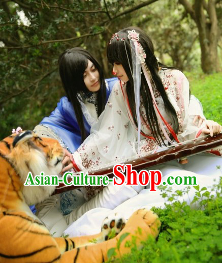 Ancient Chinese White Fairy Clothes and Accessories Complete Set Free Shipping Worldwide