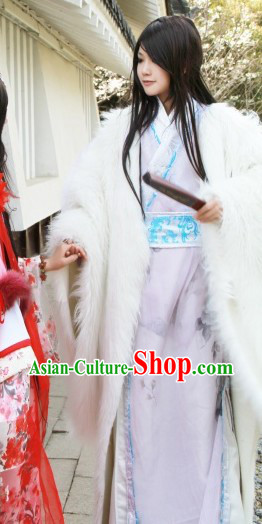 Ancient Chinese White Royal Family Young Men Robe and Cape Complete Set