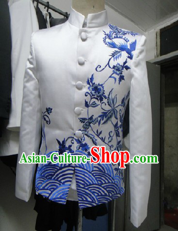Traditional Chinese White and Blue Embroidery Wedding and Performance Blouse
